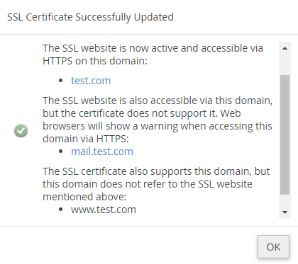 SSL Certificate has been successfully installed