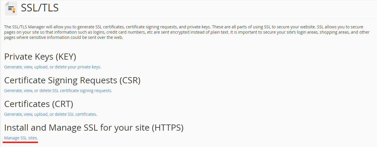 SSL Certificate - Manage SSL Sites